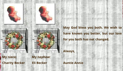 My niece:                   My nephew:  Charity Becker         Eli Becker   May God bless you both. We wish to have known you better, but our love for you both has not changed.  Always,  Auntie Annie